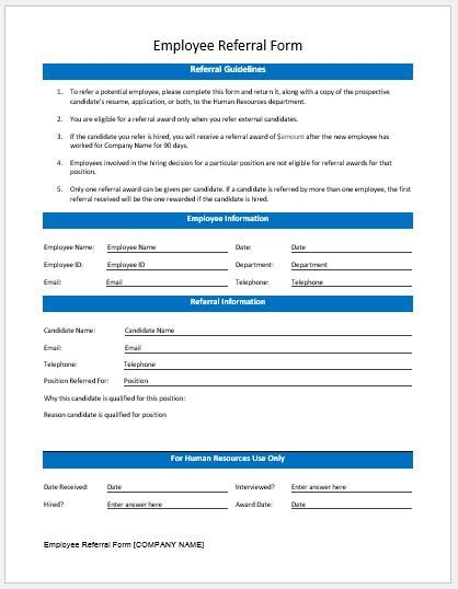 employee referral form templates ms word word excel