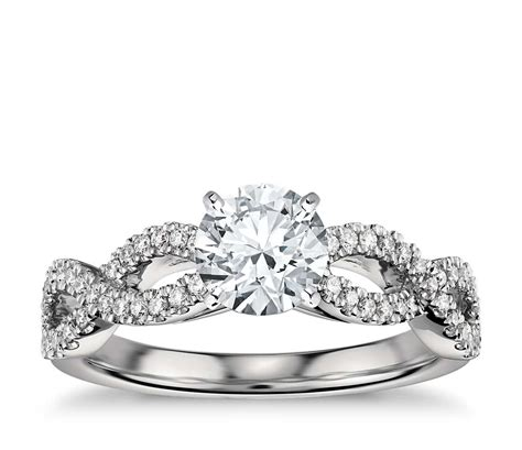 Infinity Twist Micropavé Diamond Engagement Ring In