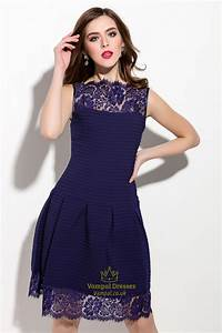 Navy Blue Sleeveless Illusion Neckline Dress With Lace ...
