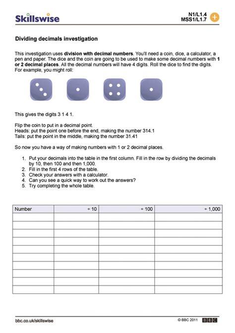 division maths printable worksheets ks2 dividing decimals