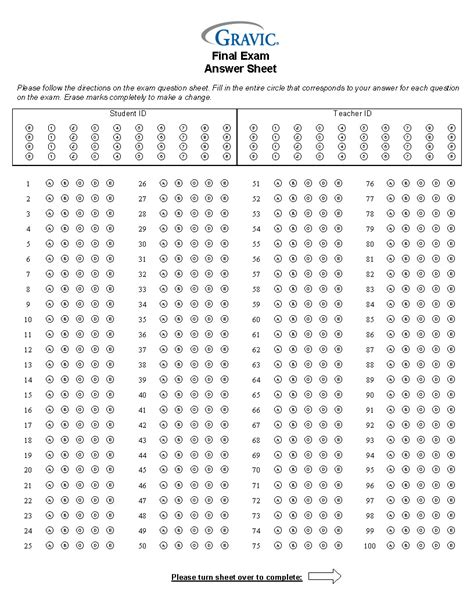 answer sheet 200 question test answer sheet with credit and grid id 183 remark software