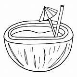 Cocktail Doodle Zentangle Drink Umbrella Coloring Cool Summer Coconut sketch template