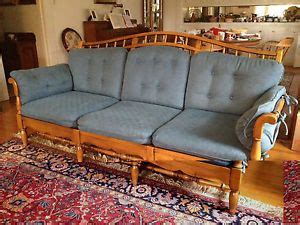 ethan allen wood frame sofa vintage ethan allen spanish revival sofa settee couch mid