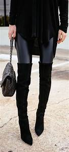 Zoe Leather Look Leggings - Black RESTOCKED | Knee high boots Over the knee boots and Fall outfits