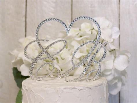 monogram  initial heart wedding cake topper  swarovski crystals   letter