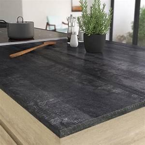 Plan De Travail Marbre Noir : plan de travail droit stratifie vintage wood noir 315 x 65 ~ Dailycaller-alerts.com Idées de Décoration
