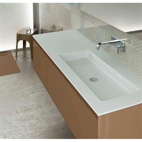 meuble cuisine bas 120 cm plan vasque blanc mat soho solid surface à poser vasque