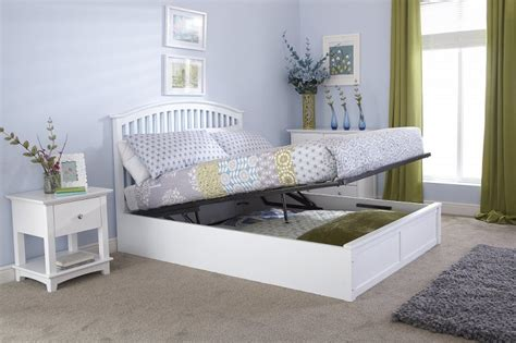 White Ottoman Bed Small by Gfw Madrid 5ft Kingsize White Wooden Ottoman Bed By Gfw