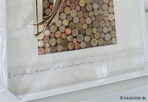 Hochzeitsgeschenk Basteln Geld : geldgeschenk mit m nzen basteln als wandbild zur hochzeit ~ Frokenaadalensverden.com Haus und Dekorationen