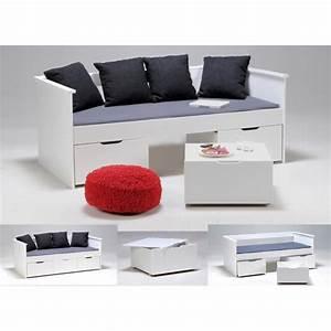 Lit Banquette Blanc : soho lit banquette enfant 90x190cm finition blanc achat ~ Teatrodelosmanantiales.com Idées de Décoration
