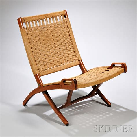 pair of wegner style teak folding rope chairs sale