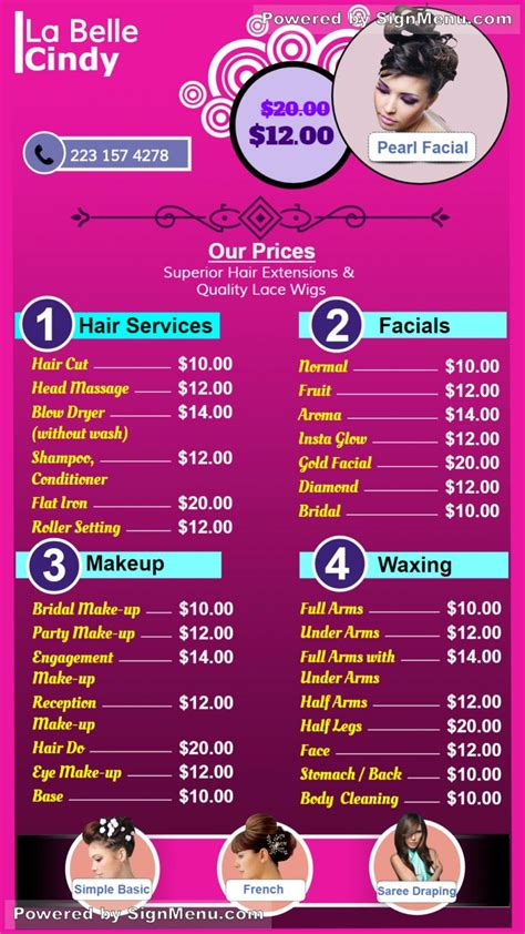 signmenu digital signage menu board   beauty salon