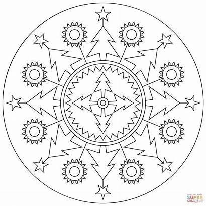 Mandala Coloring Pages Christmas Mandalas Printable Colorare