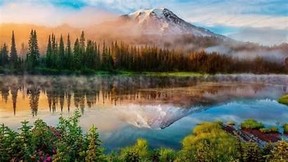 Wallpapers Mountain Lake Surface Mirror Fog Trees