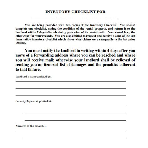 landlord inventory template    documents