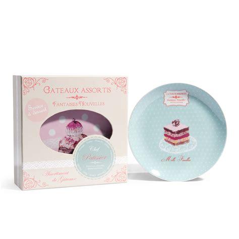 coffret 6 assiettes 224 dessert 224 motifs bleues et roses cupcake coffret et assiette