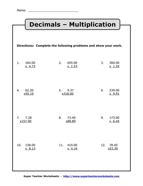 Multiplying Decimals  Multiplication With Decimals Worksheets  Teaching  Pinterest Decimal