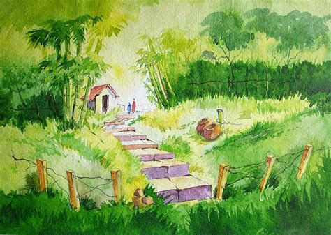 small house in greenery painting by deepali sagade