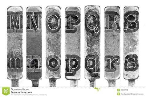 black and white vintage typewriter macro letters 8 x 12 typewriter typebar letters m to s isolated on stock 44059