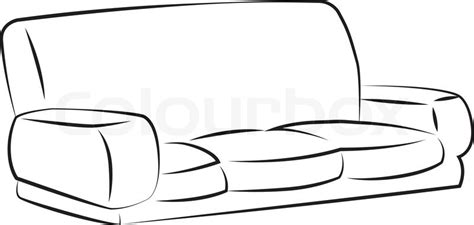 black outline vector sofa  white background stock