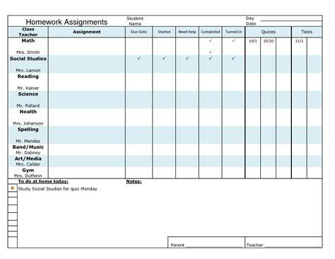 homework planner templates schedules excel  formats