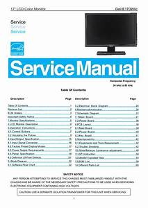 Dell E1709wc A03 Lcd Monitor  Service Manual  Repair Schematics