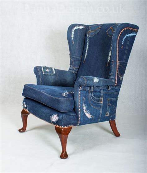 denim wingback armchair knoll sofa chair