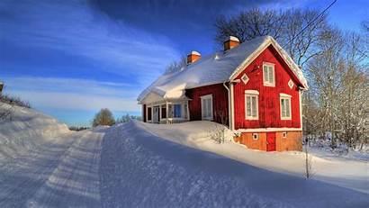 Snow Nature Between Winter Houses Snowed Wallpapers