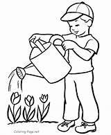 Coloring Colouring Plants Watering Child Pdf sketch template