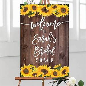 Personalized, Sunflowers, Welcome, Bridal, Shower, Party, Sign, Wedding, Welcome, Sign, With, Floral, Rustic