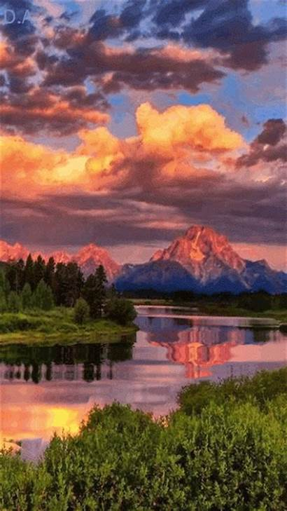 Paysage Montagne Lac Animated Nature Gifs Water