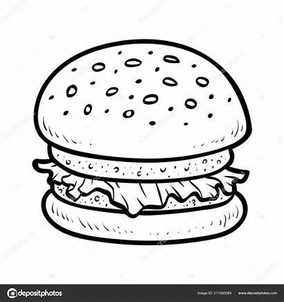 Burger Hamburger Coloring Children Akuninidik Ksenya Savva