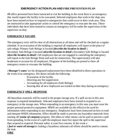 Emergency Response Plan Template For Small Business emergency plan template 9 free sle exle