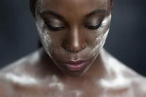 Creative Makeup. Black Skin And White Powder Stock Photo ...