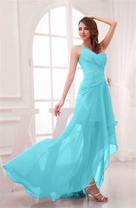turquoise romantic asymmetric neckline chiffon hi lo With turquoise dress for wedding guest