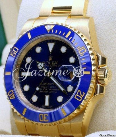 Rolex Submariner 116618LB 116618 Blue 18k Yellow Gold 40mm ...