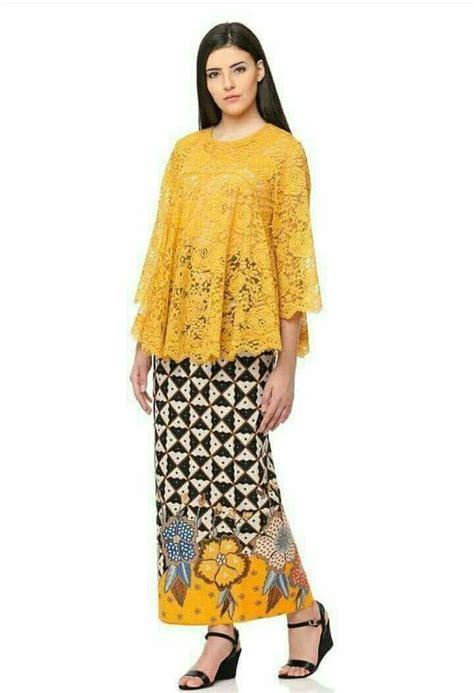 model kebaya brokat modern warna kuning emas baju muslim
