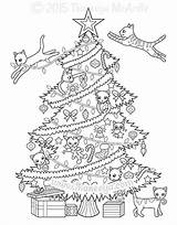 Coloring Pages Thaneeya Christmas Tree Cat Cats Mcardle Colouring Printable Sheet Books Colorable Adult Drawing Sheets Adults Snow Kitties Pdf sketch template