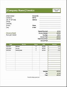 lawn care invoice template for excel excel invoice templates With lawn service invoice