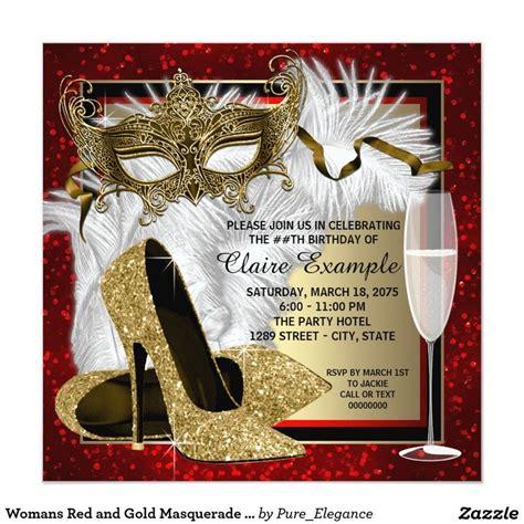 womans red  gold masquerade party invitation zazzle