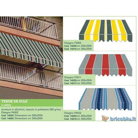 tenda da sole per balcone tenda da sole balcone a caduta cm 200x250 brico
