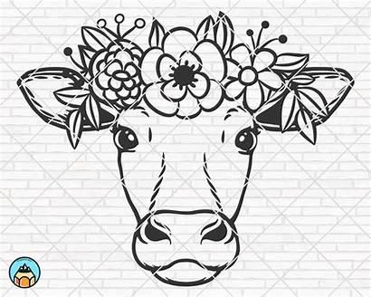 Cow Svg Flower Crown Flowers Head Face