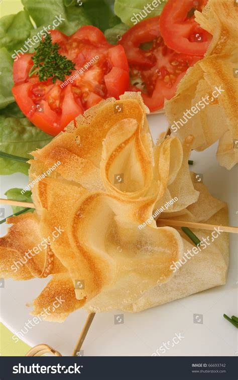 filo pastry cases canapes filo pastry canape food and salad stock photo 66693742