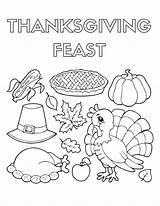 Coloring Thanksgiving Dinner Pdf Llamacorn Feast Drawing Sheets Template Printable Pilgrim Getcolorings Draw Getdrawings Sketch November Nice sketch template