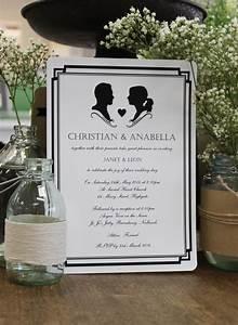 cameo silhouette style wedding invitation in black and With wedding invitations with silhouette cameo
