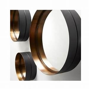 Miroirs ronds (x3) en métal doré Wilton par Drawer fr