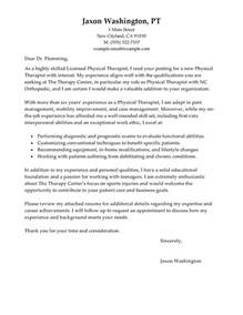physical therapist assistant resume cover letter best physical therapist cover letter exles livecareer