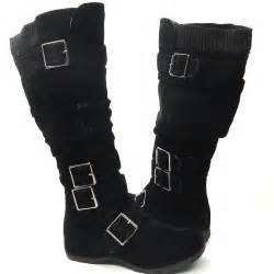 womens boots knee high black womens knee high faux suede flat winter buckle boots black 5 5 10 pretty in boots fabulous