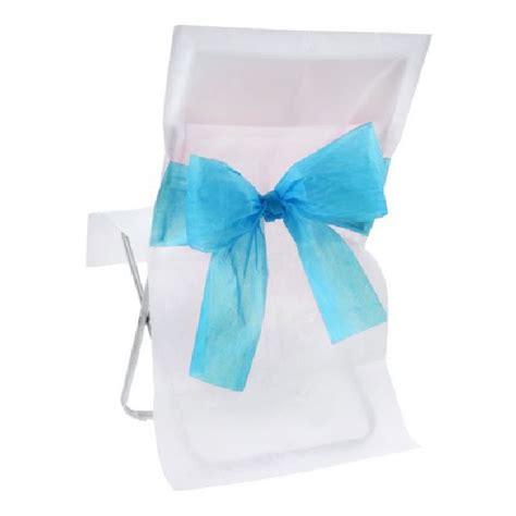 vente housse de chaise mariage intiss 233 e blanche avec noeud turquoise tables 1001 deco table