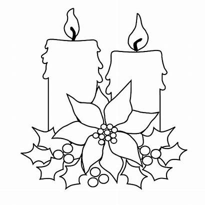 Candle Coloring Christmas Tree Pages Drawing Blank